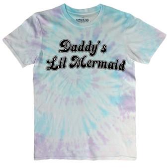 Daddy's Lil Mermaid Pastel Tie Dye T Shirt
