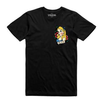 Alice Traditional Old Skool Tattoo Pocket Print Black T Shirt