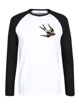 Traditional SWALLOW Tattoo Pocket Print  Raglan Black & White Baseball T Shirt