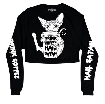 Drink Coffee, Hail Satan Cropped Sweater