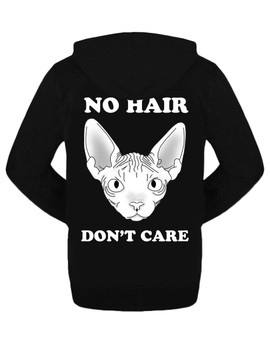 No Hair, Don't Care Zipped Hoodie