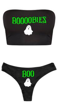 Booobies Crop Top and Thong Set