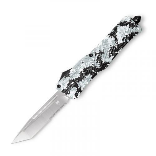 """Cobra Tec Knives LADCCTK1LTS CTK-1 Large 3.75"""" Tanto Part Serrated D2 Steel Army DigiCamo Aluminum Handle OTF"""
