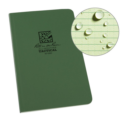"""Rite In The Rain Weatherproof Tactical Field Notebook, 4 5/8"""" x 7"""", Green Cover, Universal Pattern with Reference Materials (No. 980)"""