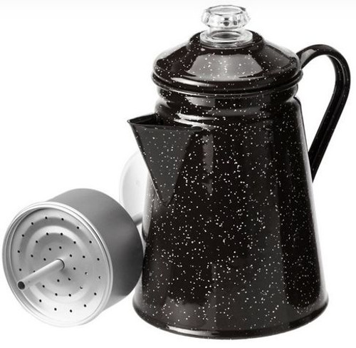 Coffee Pot Black Enamel 8 cup Percolator
