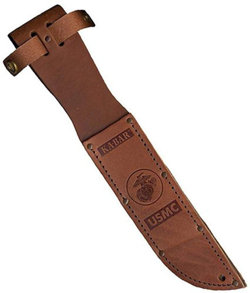 "KA-BAR Leather Sheath, USMC Logo, Fits Knife with 7"" Blade, Brown"