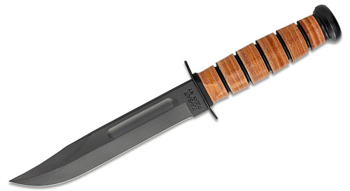 "KA-BAR Full Size USMC Fighting Knife 7"" Plain Blade, Leather Handles, Leather Sheath"
