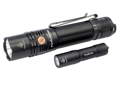 Fenix PD36R Rechargeable Flashlight with a Bonus Fenix E01 V2.0 AAA Flashlight