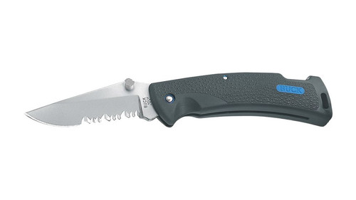 "Buck Knives Protege 3"" Combo Edge Blade, Black with Blue Inset, Nylon Sheath Included"