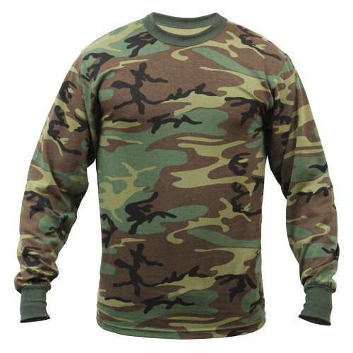 Rothco Woodland Camo T-Shirt Long Sleeve Men's