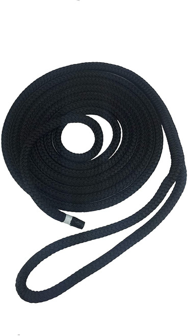 "Utility Rope - Double Braid Jacket, Straight Fiber Core Black 1/2"" x 50'"