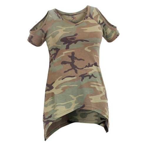 Women's Camo Cold Shoulder Top