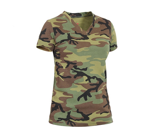 Women's Woodland Camo V-Neck T-Shirt