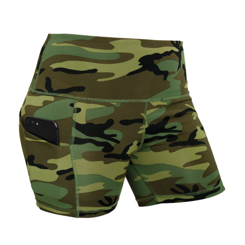 Womens High Performance Fitness Shorts Woodland Camo
