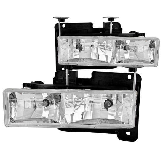 111004 Crystal Headlight Set - Clear Lens - Chrome Housing - Pair - Not For Use w/Sealed Beam Headlights -