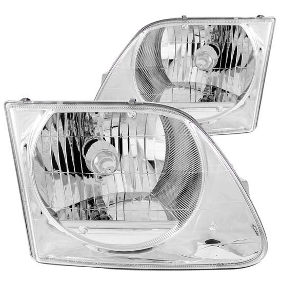 111030 Crystal Headlight Set - Clear Lens - Chrome Housing - Pair -