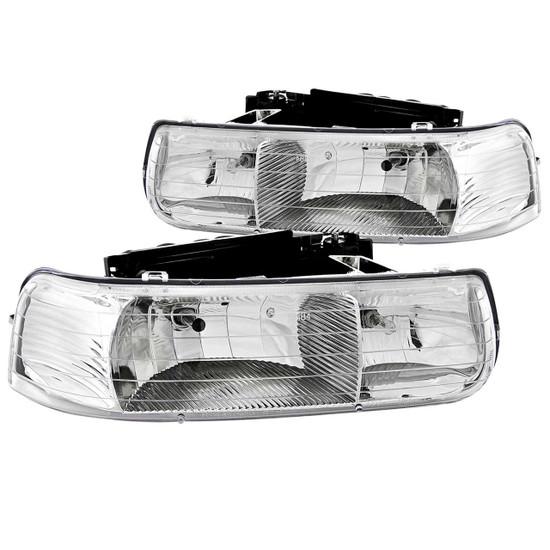 111011 Crystal Headlight Set - Clear Lens - Chrome Housing - Pair -