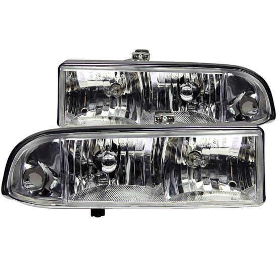 111014 Crystal Headlight Set - Clear Lens - Chrome Housing - Pair - Not For Use w/Factory Fog Lights -