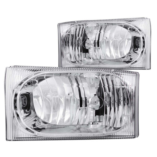 111023 Crystal Headlight Set - Clear Lens - Chrome Housing - Pair - Not For Use w/Sealed Beam Headlights -