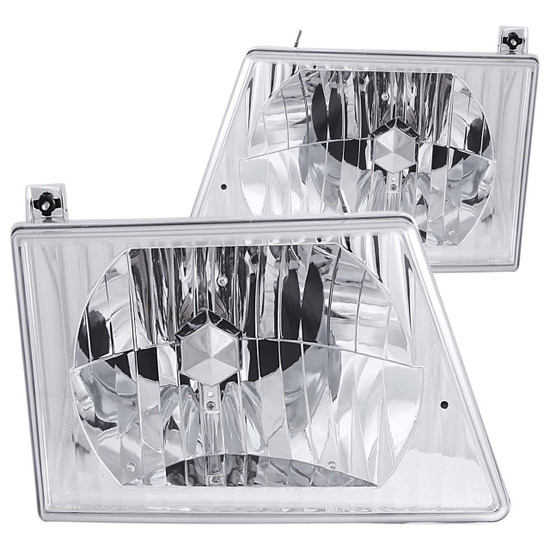 111026 Crystal Headlight Set - Clear Lens - Chrome Housing - Pair - Not For Use w/Sealed Beam Headlights 1992-2004 -