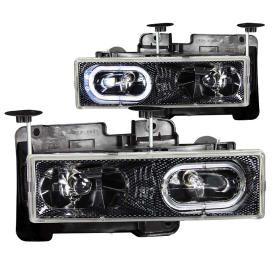 111005 Crystal Headlight Set w/Halo - Clear Lens - Carbon Housing - Pair - Not For Use w/Sealed Beam Headlights -