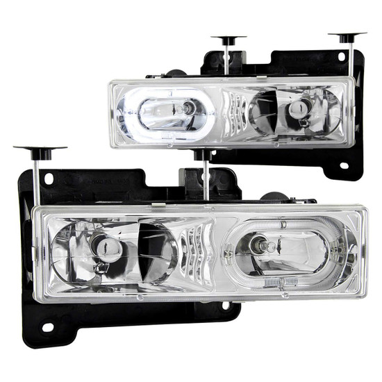 111006 Crystal Headlight Set w/Halo - Clear Lens - Chrome Housing - Pair - Not For Use w/Sealed Beam Headlights -