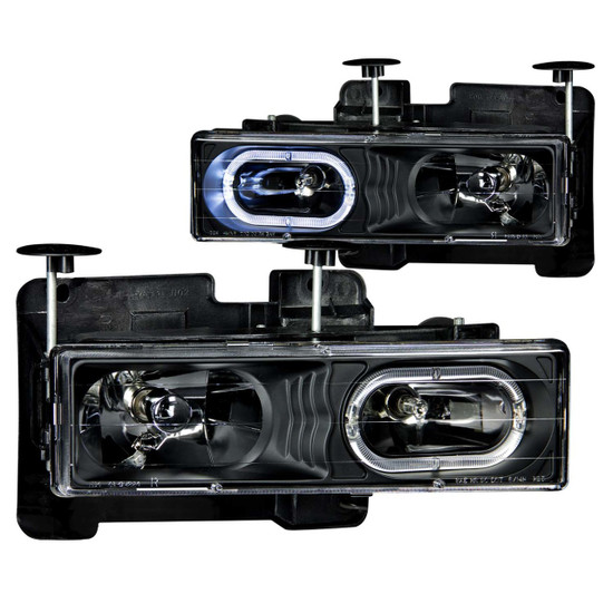 111007 Crystal Headlight Set w/Halo - Clear Lens - Black Housing - Pair - Not For Use w/Sealed Beam Headlights -