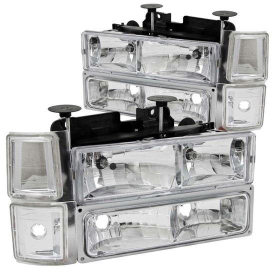 111099 Crystal Headlight Set - Clear Lens - Chrome Housing - Pair - w/Signal And Side Markers -