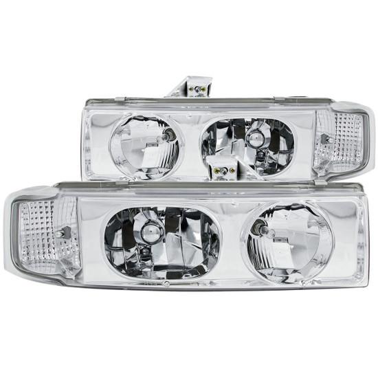 Anzo 111021 Crystal Headlight Set Clear Lens Chrome Housing Pair