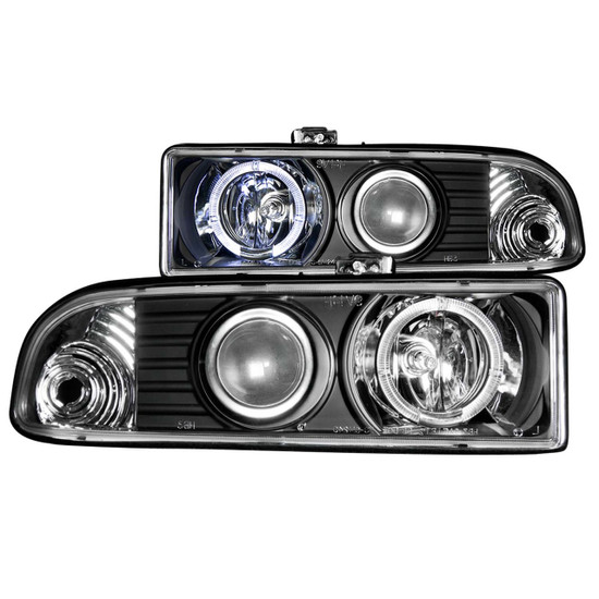 111015 Projector Headlight Set w/Halo - Clear Lens - Pair - LED - Black - Not For Use w/Factory Fog Lights -