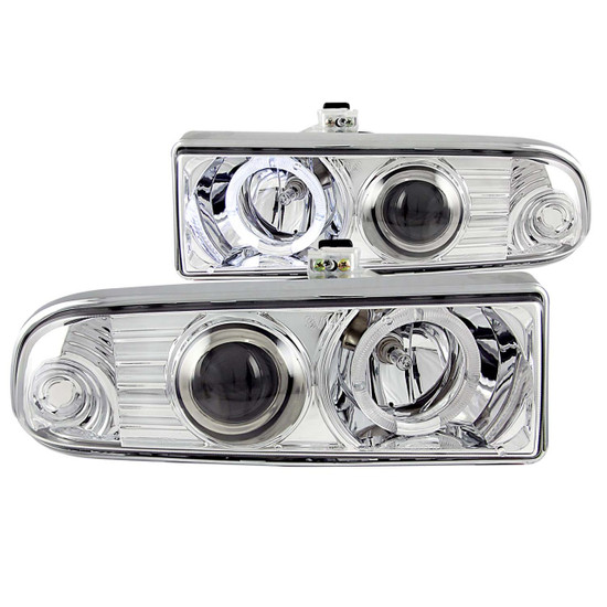 111016 Projector Headlight Set w/Halo - Clear Lens - Chrome Housing - Pair - CCFL - Not For Use w/Factory Fog Lights -