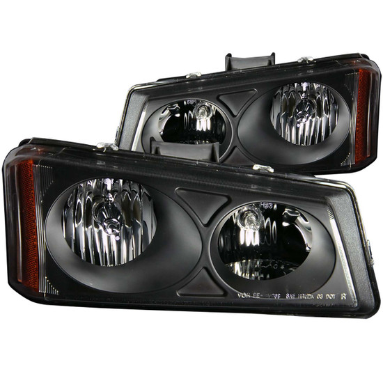 111009 Crystal Headlight Set - Clear Lens - Black Housing - Pair - Not For Use w/Sealed Beam Headlights -