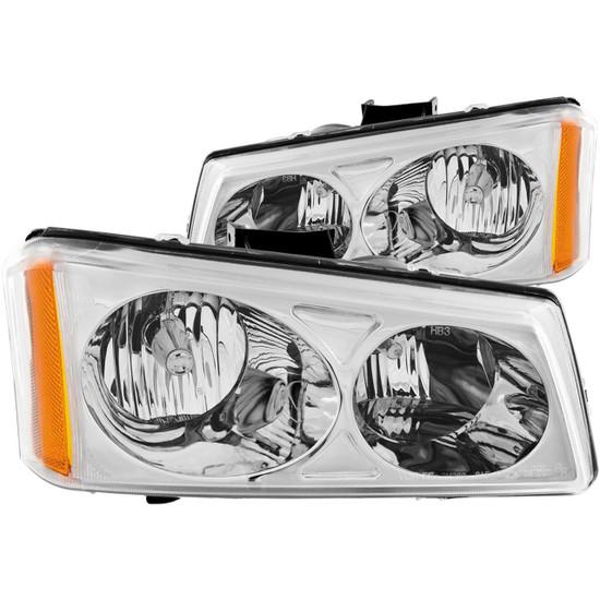 111010 Crystal Headlight Set - Clear Lens - Chrome Housing - Pair -