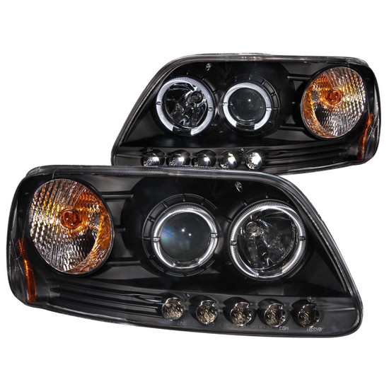 111031 Projector Headlight Set w/Halo - Clear Lens - Black Housing - Pair - w/1 pc. LED -