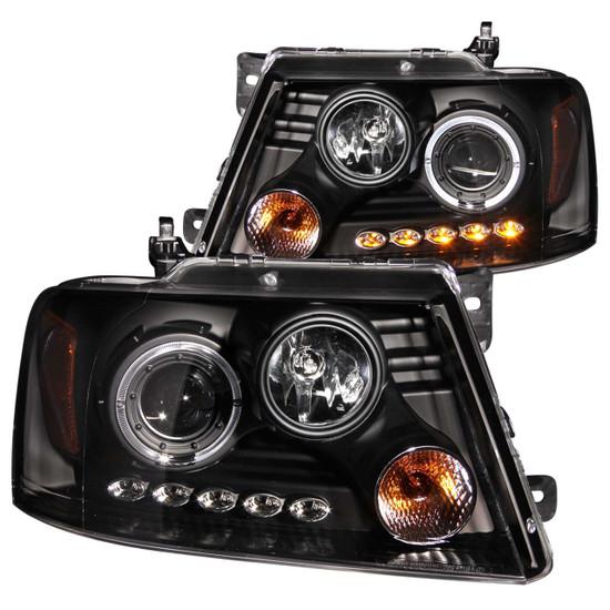 111028 Projector Headlight Set w/Halo - Clear Lens - Black Housing - Pair - w/1 pc. LED -