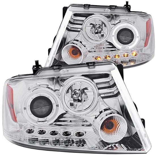 111029 Projector Headlight Set w/Halo - Clear Lens - Chrome Housing - Pair - w/1 pc. LED -