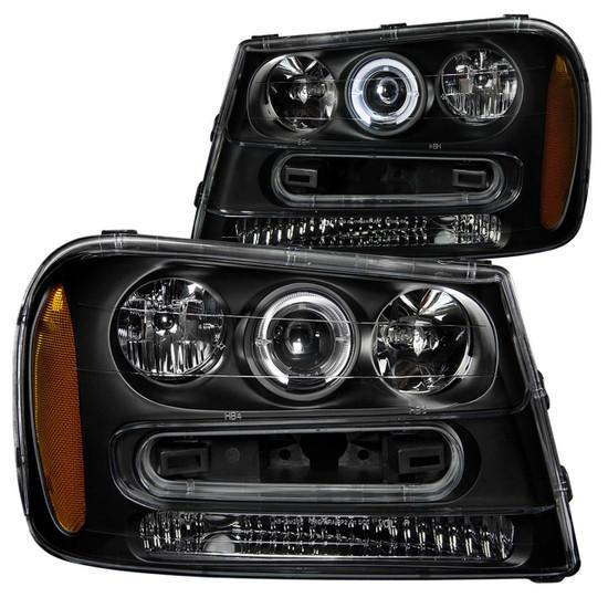 111019 Projector Headlight Set w/Halo - Clear Lens - Black Housing - Pair - w/1 pc. LED -