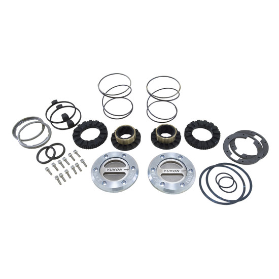 Yukon Gear YHC70001 Yukon Hardcore Locking Axle Hub Set Fits Dana 60 with 35 spline outer stubs in '79-'73 GM, '78-'97 Ford and ''79-'93 Dodge. Features all steel construction and low profile bezel. 1/3 turn to engage and disengage. Defaults to lock.