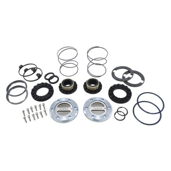 Yukon Gear YHC70003 Yukon Hardcore Locking Axle Hub Set Fits Dana 60 with 30 spline outer stubs in '79-'73 GM, '78-'97 Ford and ''79-'93 Dodge. Features all steel construction and low profile bezel. 1/3 turn to engage and disengage. Defaults to lock.