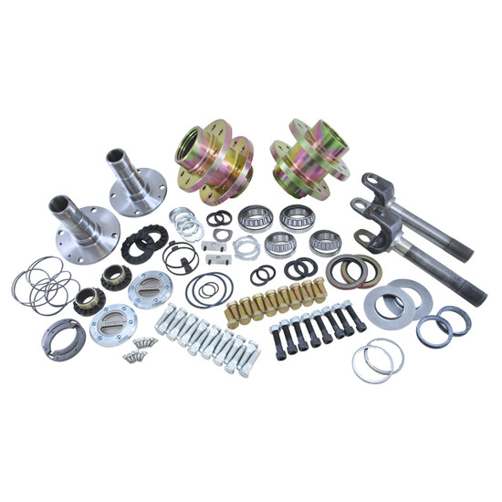 Yukon Gear YA WU-07 Hub Conversion Kit Fits Jeep YJ, XJ and TJ front, 5 x 4.5'' bolt pattern. Includes outer axles, hubs, spindles, locking hubs and all necessary hardware for installation.