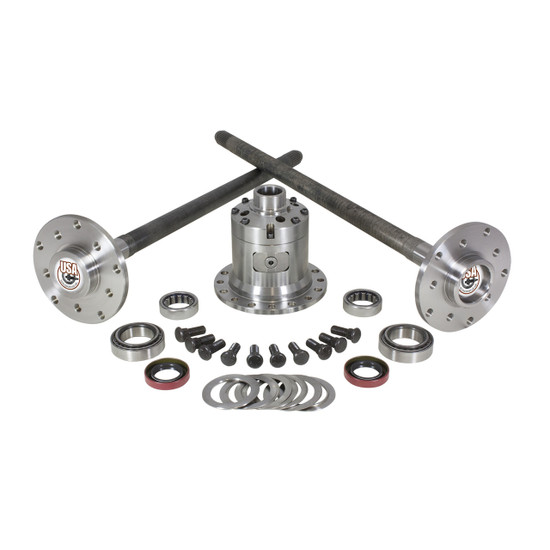 Yukon Gear YA M35W-1-30-D Ultimate Axle Kit Fits '87-'90 Jeep Wrangler and Cherokee, 30 spline. Includes axles, axle bearings and seals, studs, Detroit Locker, carrier bearings, races and shims.