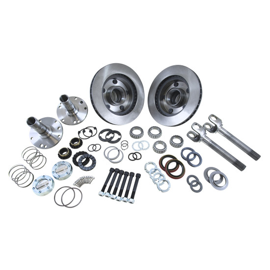 Yukon Gear YA WU-01 Hub Conversion Kit Fits '94-'99 Dodge Dana 44 front. Includes outer axles, hubs, spindles, Yukon Hardcore locking hubs and all necessary hardware for installation.