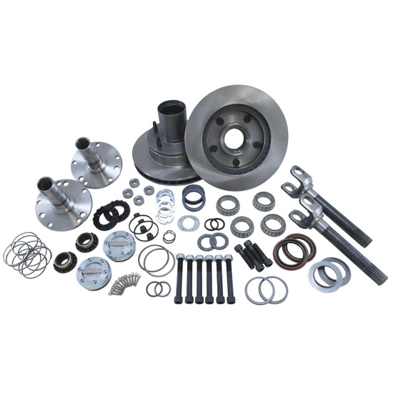 Yukon Gear YA WU-02 Hub Conversion Kit Fits '00-'01 Dodge Dana 44 front. Includes outer axles, hubs, spindles, Yukon Hardcore locking hubs and all necessary hardware for installation.