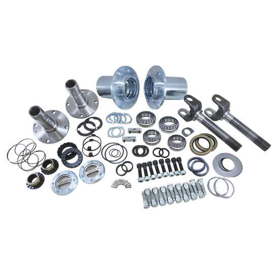 Yukon Gear YA WU-04 Hub Conversion Kit Fits '00-'08 Dodge Dana 60 and 9.25'' front, SRW. Includes outer axles, hubs, spindles, Yukon Hardcore locking hubs and all necessary hardware for installation.