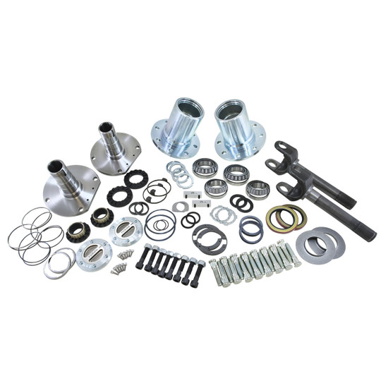 Yukon Gear YA WU-08 Hub Conversion Kit Fits Jeep YJ, XJ and TJ front, 5 x 5.5'' bolt pattern. Includes outer axles, hubs, spindles, Yukon Hardcore locking hubs and all necessary hardware for installation.