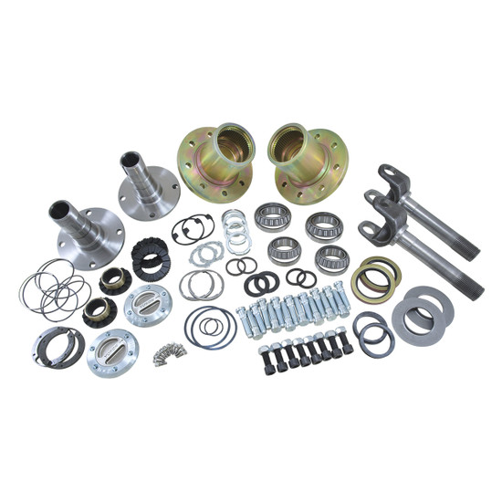 Yukon Gear YA WU-03 Hub Conversion Kit Fits '94-'99 Dodge Dana 60 front, SRW. Includes outer axles, hubs, spindles, Yukon Hardcore locking hubs and all necessary hardware for installation.
