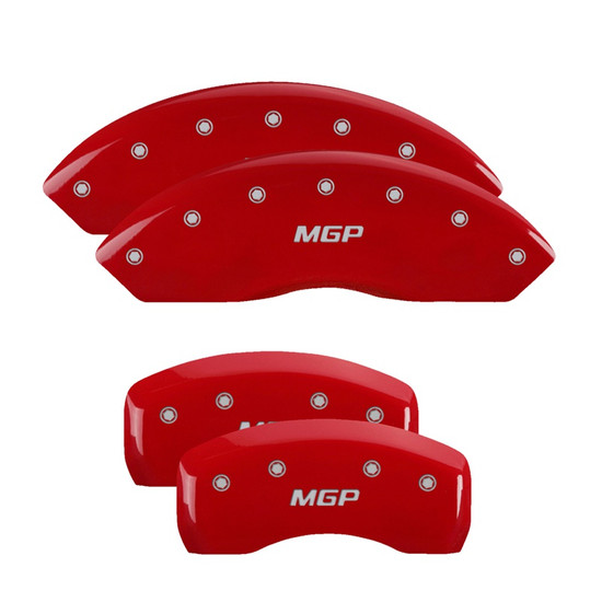 MGP Caliper Covers 10007SMGPRD Set of 4 caliper covers, Engraved Front and Rear: MGP, Red powder coat finish, silver characters.