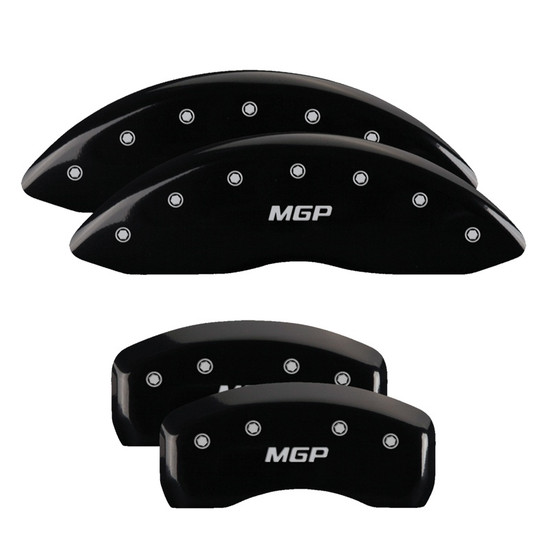 MGP Caliper Covers 38024SMGPBK Set of 4 caliper covers, Engraved Front and Rear: MGP, Black powder coat finish, silver characters.