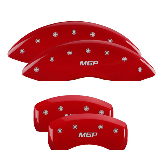 MGP Caliper Covers 38024SMGPRD Set of 4 caliper covers, Engraved Front and Rear: MGP, Red powder coat finish, silver characters.