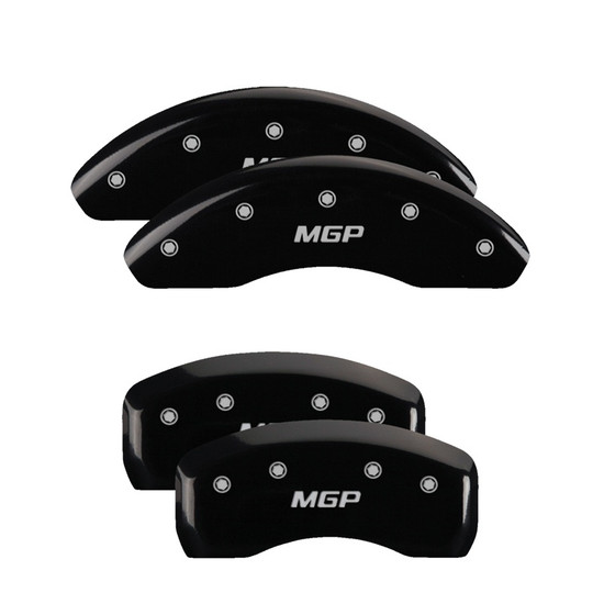 MGP Caliper Covers 38025SMGPBK Set of 4 caliper covers, Engraved Front and Rear: MGP, Black powder coat finish, silver characters.